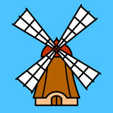 Colorful cartoon windmill Royalty Free Stock Images