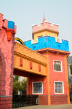 Colorful cartooned building. A cartooned castle-like building with colorful painted wall of an amusement park,at Chengdu,China Royalty Free Stock Photo