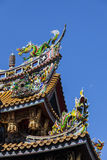 Colorful carvings on roof of Japanese temples Stock Photos