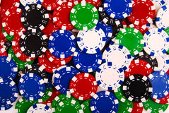 Colorful casino chips background Stock Photos
