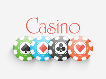 Colorful Casino chips on grey background. Stock Images