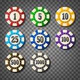 Colorful casino chips on transparent background Royalty Free Stock Image