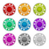 Colorful Casino Chips on a White Background Stock Photography