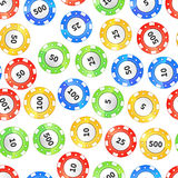 Colorful casino chips on white seamless pattern. Colorful casino chips isolated on white seamless pattern royalty free illustration