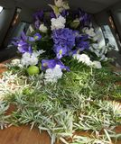 Colorful casket in a hearse or chapel before funeral or burial at cemetery. Closeup shot of a colorful casket in a hearse or chapel before funeral or burial at Stock Photos