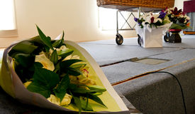 A colorful casket in a hearse or chapel before funeral or burial at cemetery Royalty Free Stock Photography