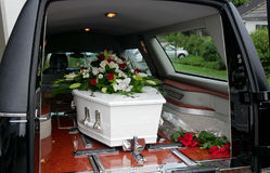 A colorful casket in a hearse or church  before funeral Stock Photography