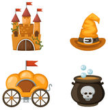 Colorful castle,carriage,witch hat,witches cauldron Royalty Free Stock Images