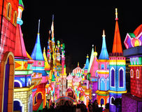 Colorful castle lights. On New Year's night Royalty Free Stock Images
