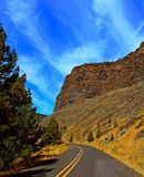 Colorful Castle. State Hwy 27 at Castle Rock in the Crooked River Canyon south of Prineville, OR stock photography