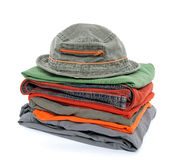 Colorful casual clothes and hat Stock Images