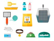 Colorful cat accessory cute vector animal icons pet equipment food domestic feline illustration. Colorful cat accessory and cute vector animal icons collection royalty free illustration