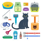 Colorful cat accessory cute vector animal icons pet equipment food domestic feline illustration. Royalty Free Stock Photography
