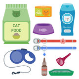 Colorful cat accessory cute vector animal icons pet equipment food domestic feline illustration. Stock Photo