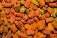 Colorful cat food. The texture of cat food Royalty Free Stock Photography
