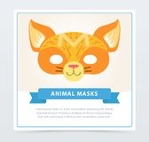Colorful cat masquerade mask. Cute domestic animal muzzle. Cartoon flat vector design for birthday party invitation. Colorful cat masquerade mask. Cute domestic Royalty Free Stock Photography