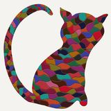Colorful cat silhouette, colored mosaic, abstract animal.  stock illustration