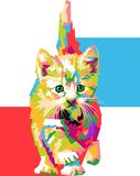 Colorful cat with wpap style stock photography