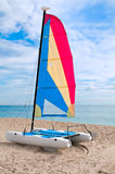 Colorful catamaran in the beach Stock Images