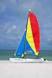 Colorful catamaran sailboat. A colorful catamaran sailboat on a beautiful beach, with turquoise sea and blue sky in the background Stock Images