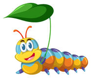 Colorful caterpillar holding leaf. Illustration Stock Images