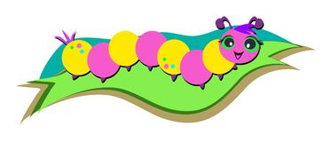 Colorful Caterpillar on a Leaf Stock Images