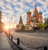 Colorful Cathedral on the Red Square Stock Images