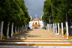 Colorful catholic chapel on a hill at Easter Stock Photos