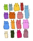 Colorful cats collection, sketch for your design Royalty Free Stock Photos