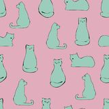 Cat hand drawn pattern royalty free illustration