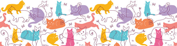 Colorful Cats Horizontal Seamless Pattern Stock Photography