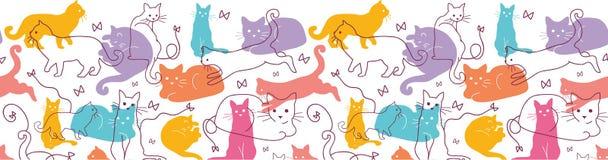 Colorful Cats Horizontal Seamless Pattern