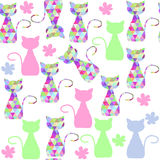 Colorful  cats seamless pattern  and seamless pattern in swatch Stock Photography