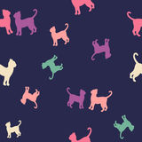 Colorful cats  silhouette seamless pattern. Colorful cats pattern over dark background. Simple vector illustration Stock Photos