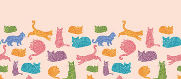 Colorful cats silhouettes horizontal seamless Royalty Free Stock Image