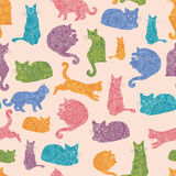 Colorful cats silhouettes seamless pattern Royalty Free Stock Photography