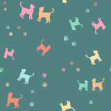Colorful cats and traces silhouette seamless pattern. Colorful cats pattern over dark background. Simple vector illustration Stock Images