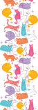 Colorful Cats Vertical Seamless Pattern Background Stock Image