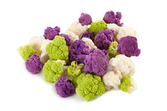 Colorful Cauliflower florets. Purple, green and white florets of fresh cauliflower Royalty Free Stock Photo