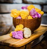 Colorful cauliflower on rustic background Royalty Free Stock Photography