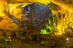 Colorful cave at Halong Bay stock image