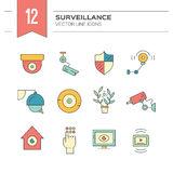Colorful CCTV icons. Colorful modern icons with surveillance and security system elements made in vector. Modern clean design elements for website, applications Royalty Free Stock Image