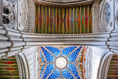 Colorful Ceiling of Cathedral of Almudena stock images