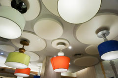 Colorful ceiling lamps. Creative design of colorful ceiling lamps Stock Image