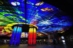 Colorful Ceiling of the Metro Station in Kaohsiung Royalty Free Stock Photo