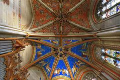 Colorful ceiling paintings in the Cathedral of Geneva royalty free stock photos