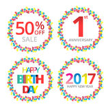 Colorful celebration background. Celebration bubble in colorful confetti. Vector Illustration Stock Images
