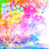 Colorful celebration background with watercolor balloons. Colorful abstract celebration background with watercolor balloons, fireworks, confetti and tinsel Stock Images