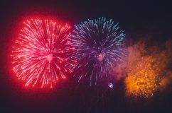Colorful fireworks in the dark sky. Colorful celebration fireworks in the dark sky Stock Images