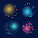 Colorful celebration fireworks. Holiday celebration fireworks set  illustration. Blue, green, yellow and purple firework explosions on the night sky Royalty Free Stock Images